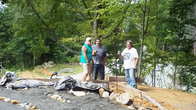 Daniel, Steve and Dod Construct Turtle Labyrinth Retaining Wall